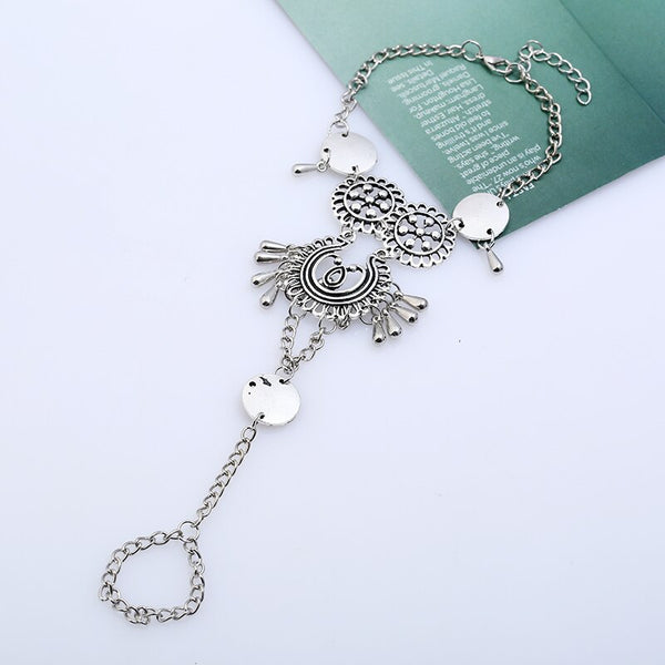 Antique Silver Hollow Flower Ankle Bracelet -  200000141 - ShaadiMagic