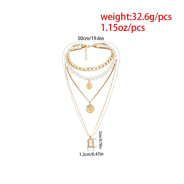 Multilayer Chain Pearl Necklace -  200000162 - ShaadiMagic
