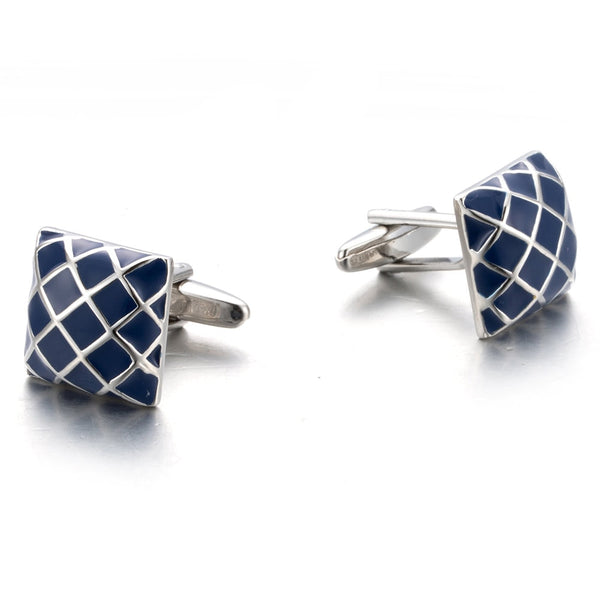 Silver Plated Blue Painting Cufflinks -  200000175 - ShaadiMagic