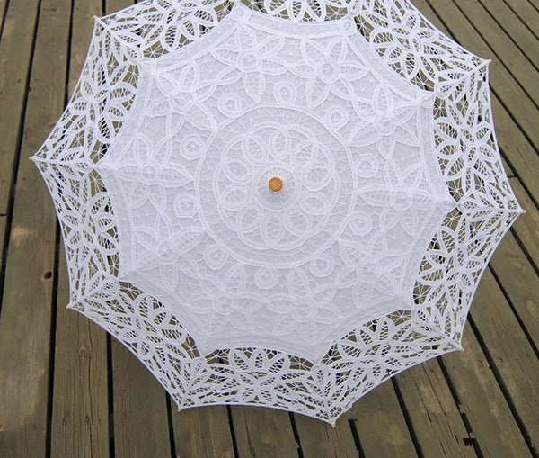 White Ivory Embroidery Bride Umbrella -  200000838 - ShaadiMagic