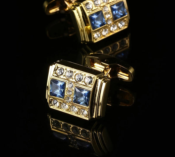 Blue Crystal French Cuff-Links -  200000175 - ShaadiMagic