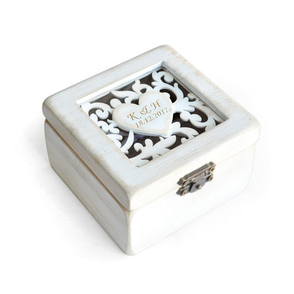 Personalized Retro White Rustic Ring Box -  200220143 - ShaadiMagic