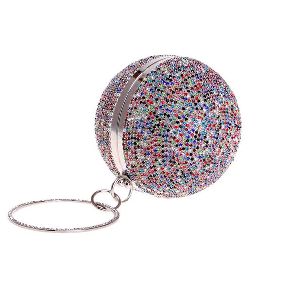 Full Crystal Diamonds Round Shaped Clutch -  100002856 - ShaadiMagic