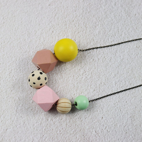 Color Block Wooden Beads Necklace -  200000162 - ShaadiMagic