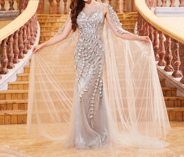 Gray Gorgeous Formal Evening Dresses Long With Jacket Beading Sequined Sexy Mermaid Gown Party Dress Elegant Night Robe OL103303 -  32004 - ShaadiMagic