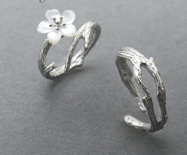 White Cherry Blossom Silver s925 Ring -  200001701 - ShaadiMagic