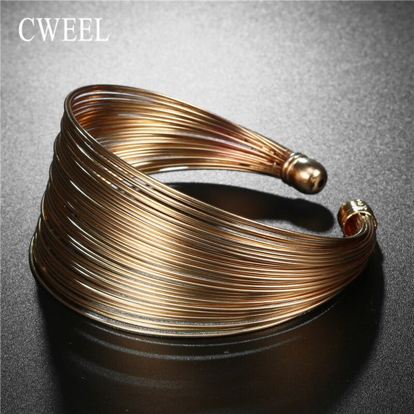 Fashion Open Round Gold Bangles -  200000146 - ShaadiMagic