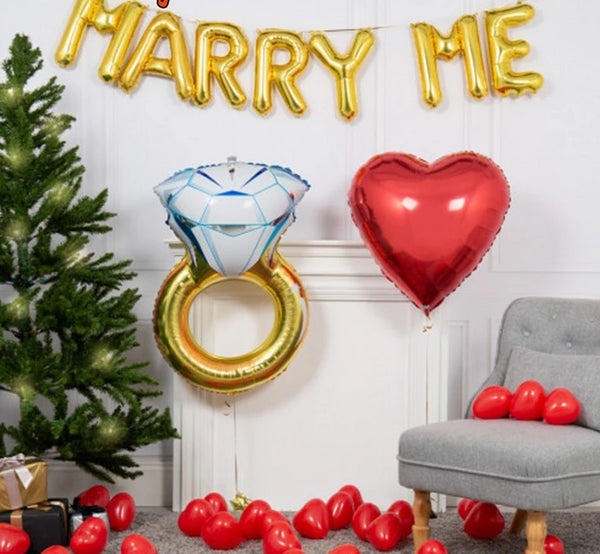 Gold Letter MARRY ME Balloons -  200218144 - ShaadiMagic