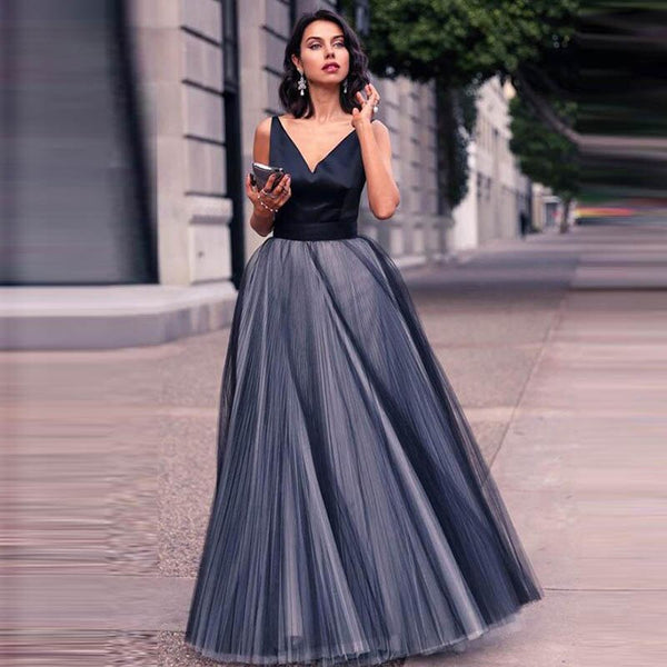 Satin Tulle Long Party Gowns -  32004 - ShaadiMagic