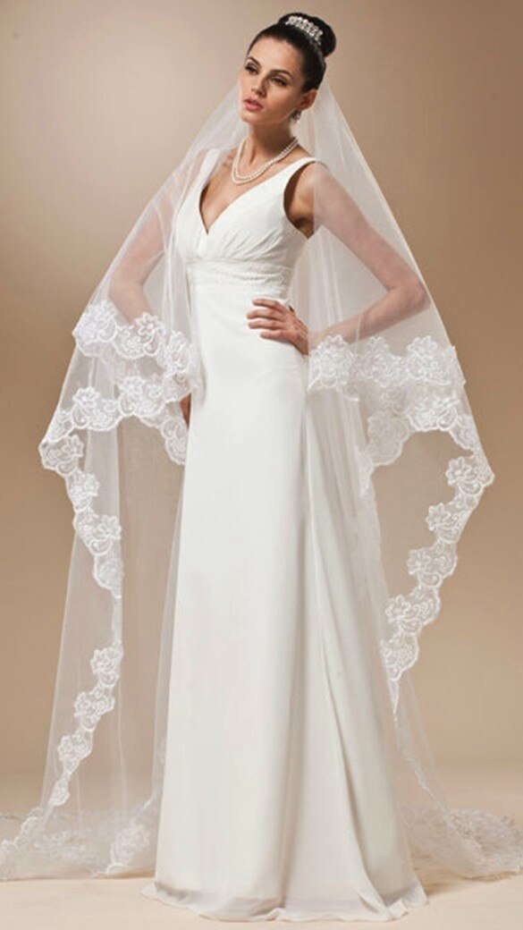 Long Lace White and Ivory Bridal Veil -  32002 - ShaadiMagic