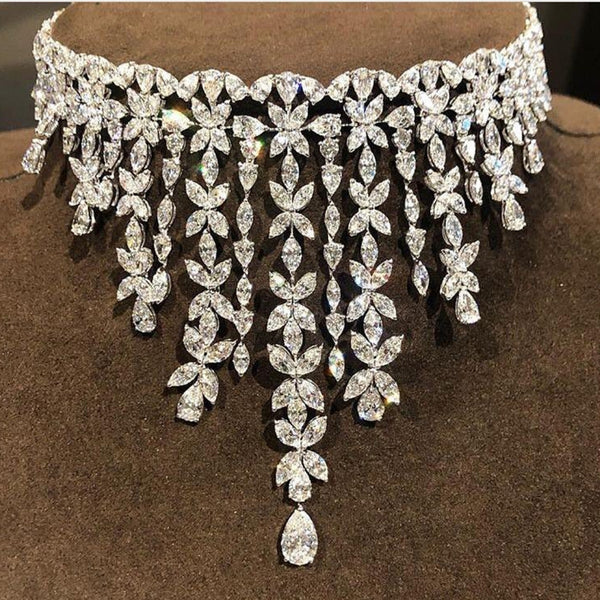 Elegant Shape Bridal CZ Necklace & Ring -  100007324 - ShaadiMagic
