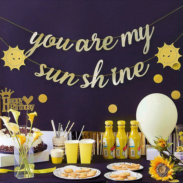 """You are My Sunshine"" Gold Glitter Banner -  200220143 - ShaadiMagic"