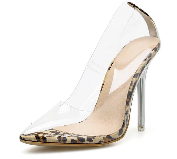 Transparent Leopard Grain Heel Stilettos -  200001012 - ShaadiMagic