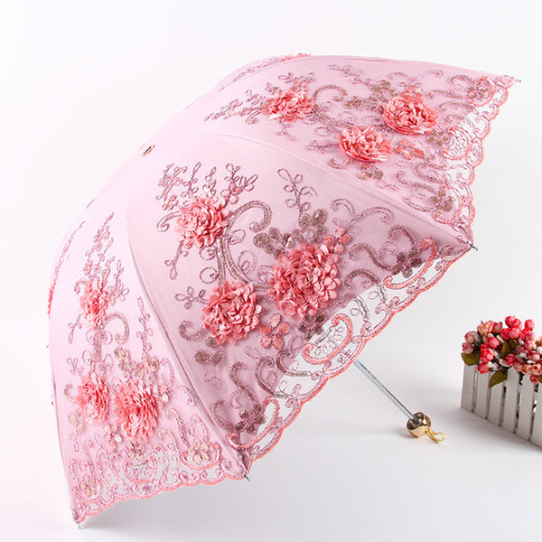 3D Flower Embroidery Multi Color Umbrella -  200000838 - ShaadiMagic