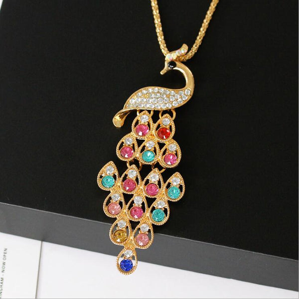 Multicolor Crystal Peacock Long Necklace -  200000162 - ShaadiMagic