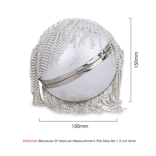 Tassel Fashion Women Pearl Beaded Crystal Party Evening Bag Bridal Wedding Round Ball Wrist Bag Round Clutch Purse Handbag -  100002856 - ShaadiMagic