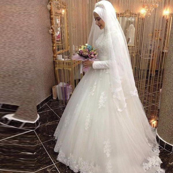 Long Sleeve Vintage Hijab Wedding Dress -  32005 - ShaadiMagic