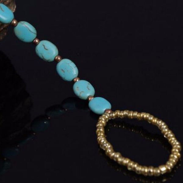 Natural Blue Stone Anklet -  200000141 - ShaadiMagic