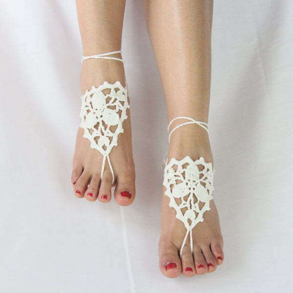 Beach Bridal Barefoot Sandals -  200000141 - ShaadiMagic