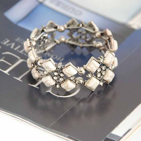 White Stone Vintage Adjustable Bracelet -  200000147 - ShaadiMagic