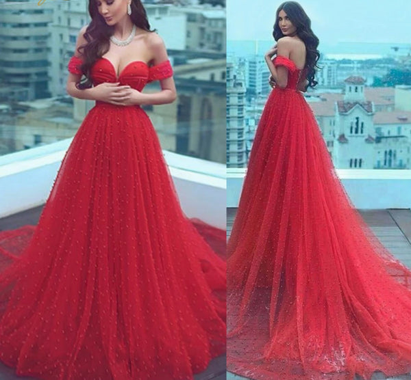Charming Pearls Red Evening Dresses -  32004 - ShaadiMagic