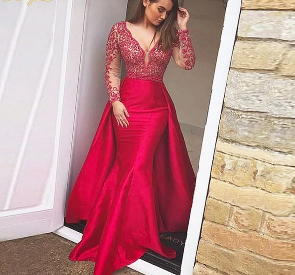 Red Long Sleeves Backless Deep V Neck Gown -  32004 - ShaadiMagic