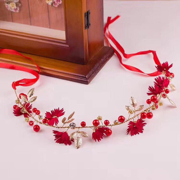 Daisy Flower Gold Leaf Headband Tiara -  100007319 - ShaadiMagic