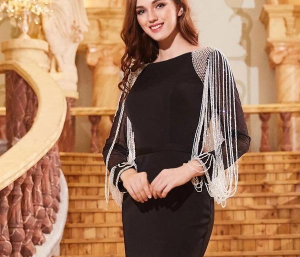 Long Sleeves Black Evening Dress 2019 Kaftan Dubai Formal Arabic Tulle Beading Mermaid Dresses Robe De Soiree OL103281 -  32004 - ShaadiMagic