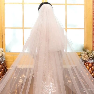 Two Layers Full Edge Lace Long Wedding Veil -  32002 - ShaadiMagic
