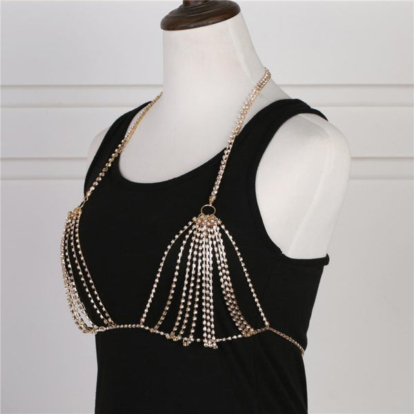 Rhinestone Body Chain Harness Bra Beach Jewelry