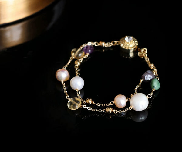 Handmade Pearl Natural Stone Adjustable Bracelet -  200001687 - ShaadiMagic