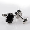 Modern Design Big Black Crystal Cufflinks