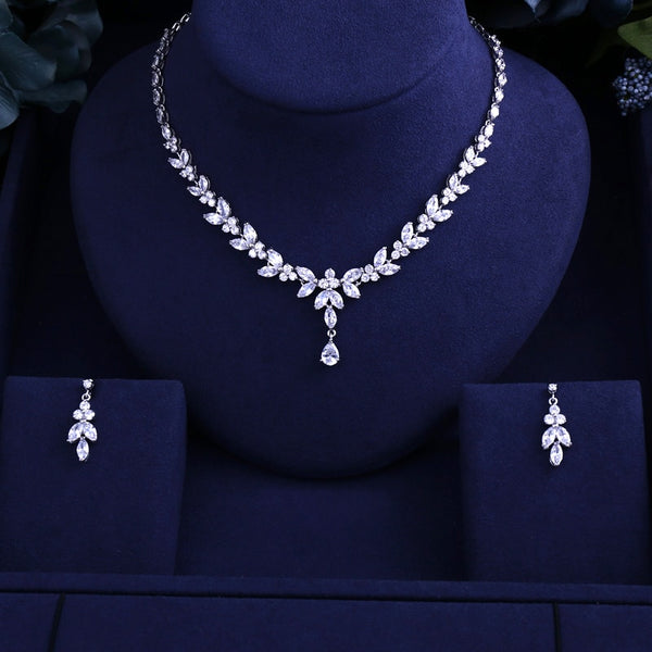Sparking Cubic Zircon Clear Bridal Jewelry Set -  100007324 - ShaadiMagic