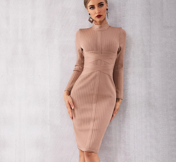 Sexy Long Sleeve Midi Club Dress -  200000347 - ShaadiMagic