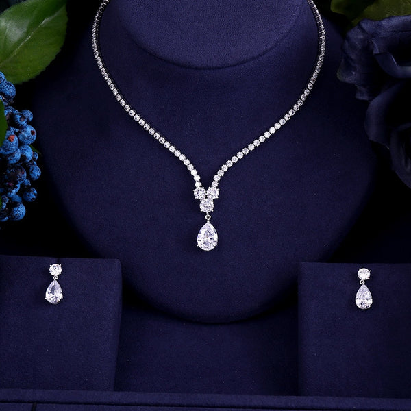 Luxury Zircon Water Drop Necklace Pendant Jewelry Set -  100007324 - ShaadiMagic