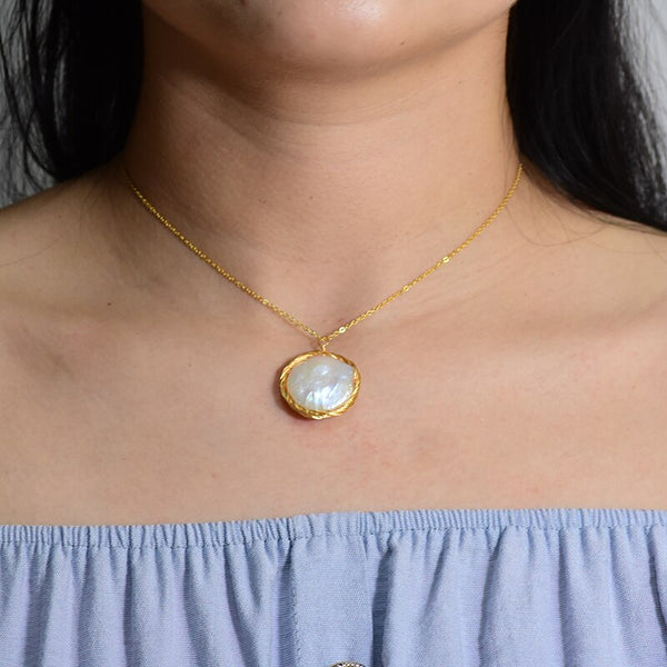 Natural Water Baroque Luxury Pearl Pendant Necklace -  200001699 - ShaadiMagic