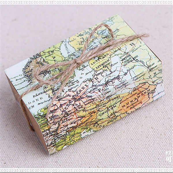 50 Pc. World Map Favors Boxes -  200223144 - ShaadiMagic