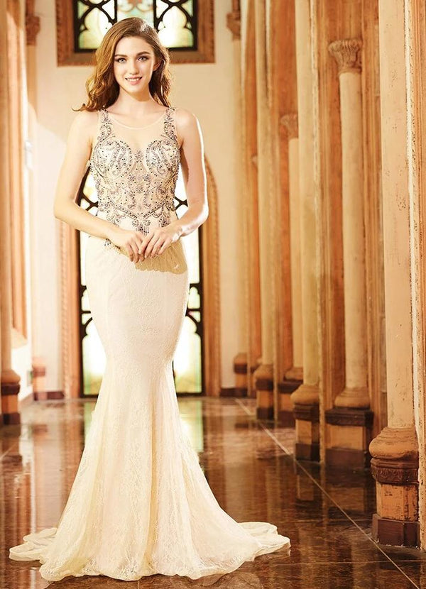 Champagne Tank Backless Sexy Elegant Lace Evening Dresses Beading Tassel Illusion long party dress Mermaid Gowns 2019 OL103267 -  32004 - ShaadiMagic