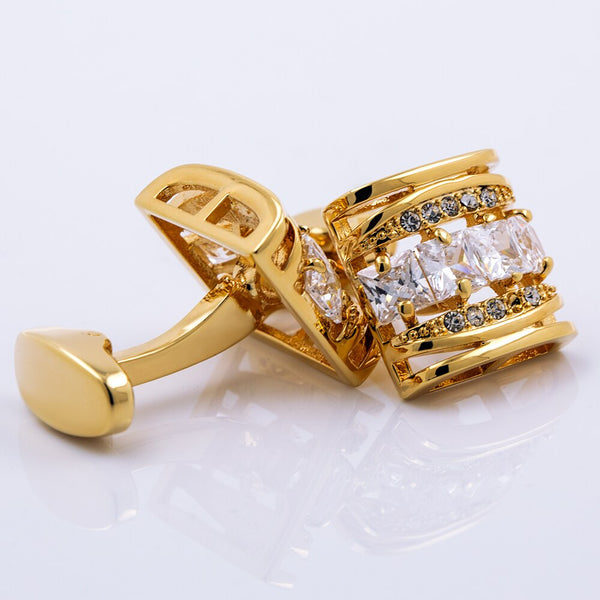 Gold Color Men Shirt Cufflinks -  200000175 - ShaadiMagic