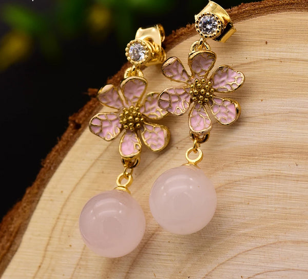 Natural Pink Crystal Bead Dangle Earrings -  200001692 - ShaadiMagic
