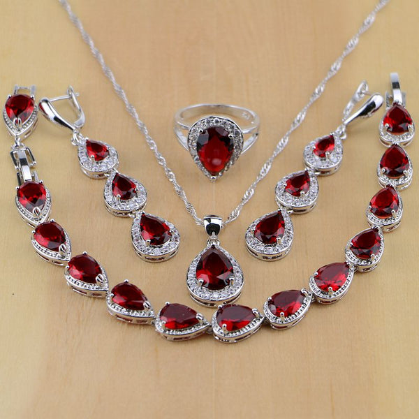 Water Drop 925 Sterling Silver  Red Jewelry Set -  100007324 - ShaadiMagic