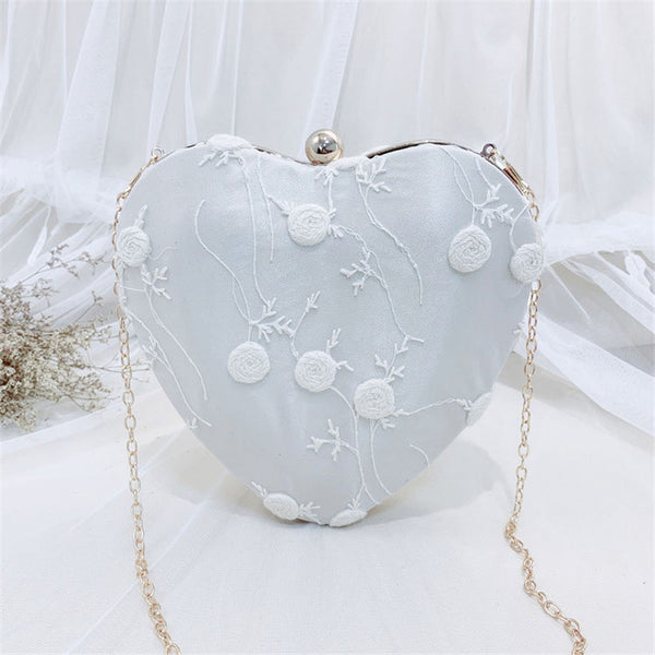 Heart Shaped Flower Embroidery Shoulder Bag -  100002856 - ShaadiMagic