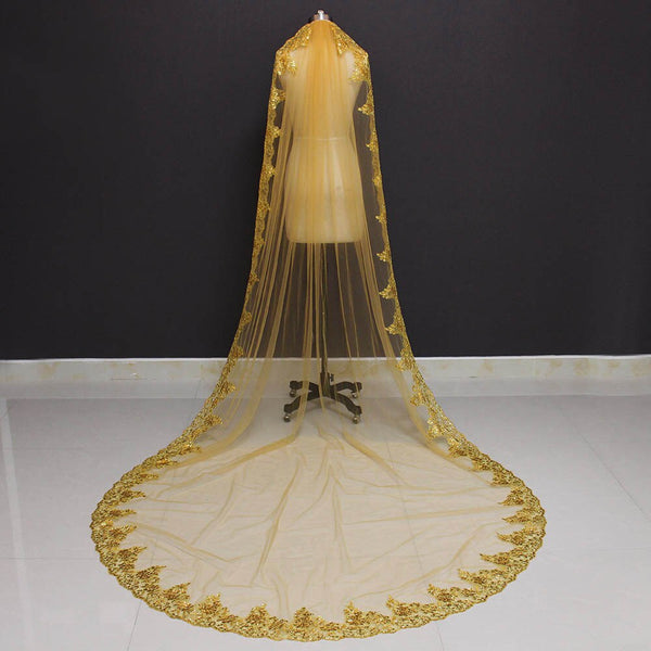 Gold One Layer Bling Sequins Cathedral Bridal Veil -  32002 - ShaadiMagic