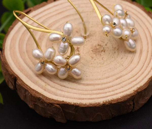 Fresh Water Pearl Boho Dangle Flower Earrings -  200001692 - ShaadiMagic