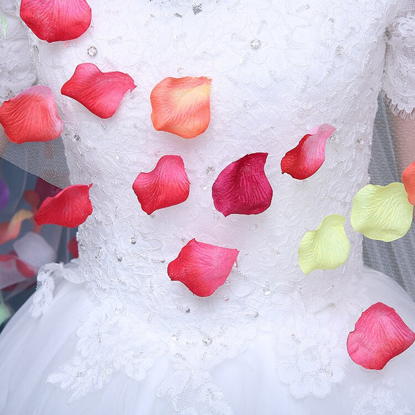 Cathedral Wedding Veil 4.8 M Long Ivory Bridal Veils With Colorful Rose Petals Voile De Mariee Velo Novia Largo -  32002 - ShaadiMagic
