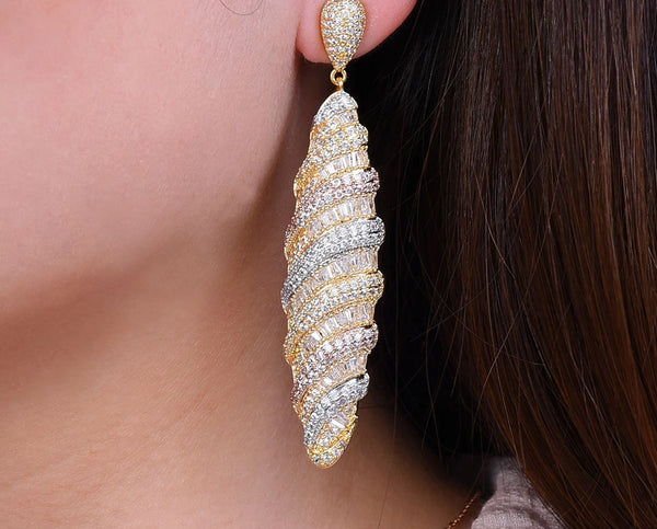 Stick Geometry Mirco Paved Zirconia Earring -  200000168 - ShaadiMagic