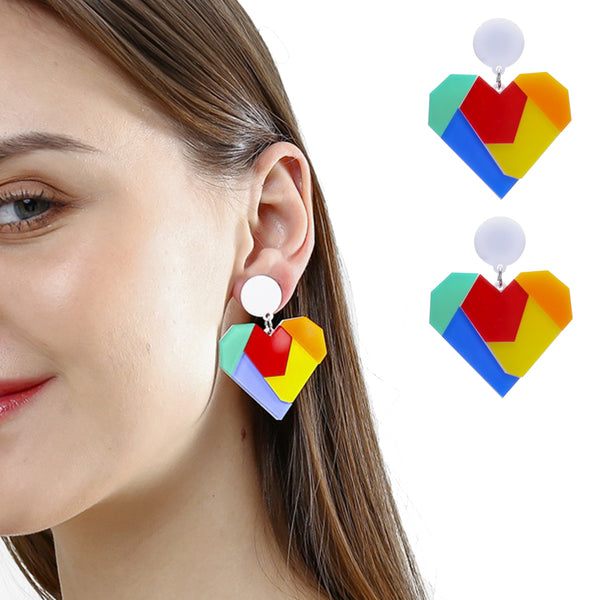 Color Block Heart Circle Acrylic Earring -  200000168 - ShaadiMagic