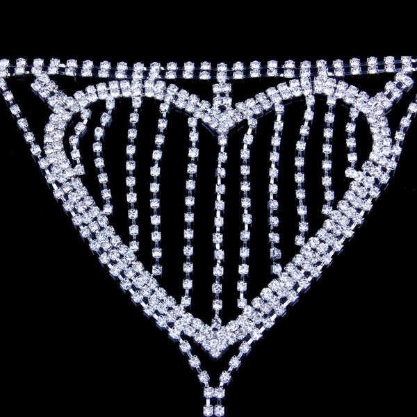 Jeweled Crotchless Heart Chain Panties