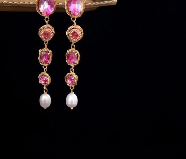 Handmade Pearl Colorful Stone Drop Earrings -  200001692 - ShaadiMagic