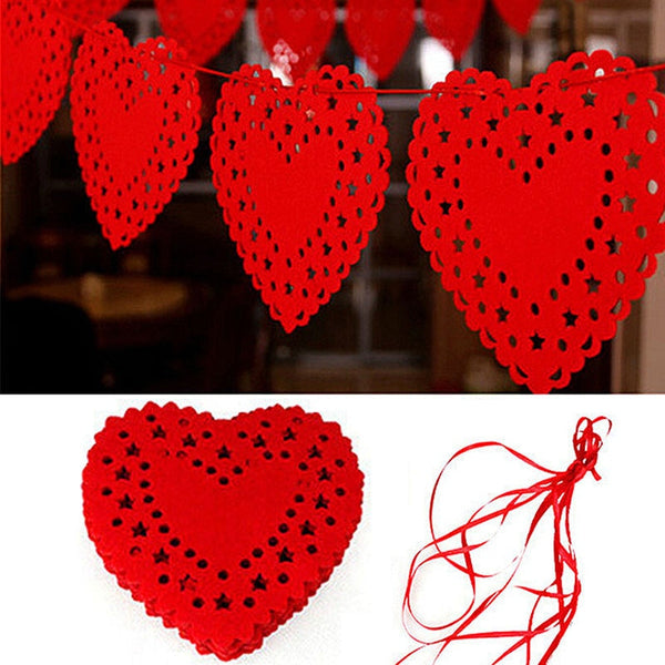Red Heart Love Garland -  200220143 - ShaadiMagic
